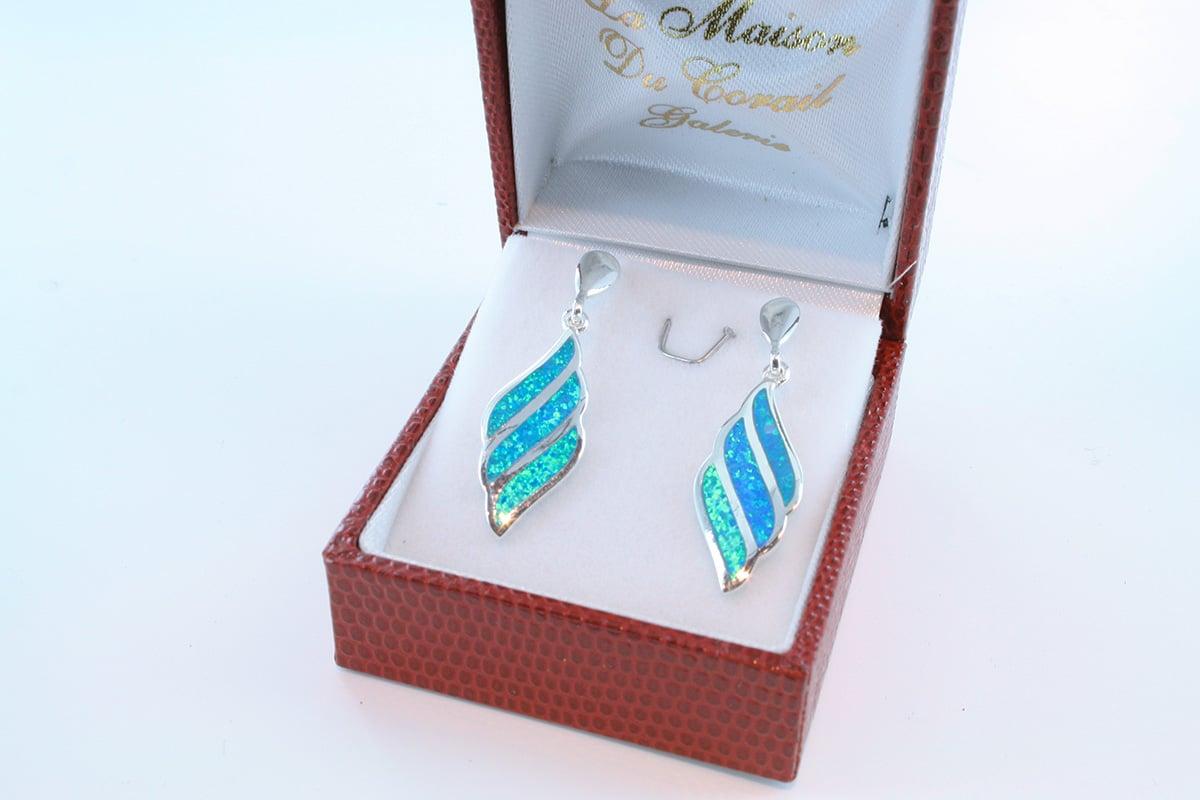boucles d oreilles en opale bleu et argent 925 par 1000 BO-OP-BL-007