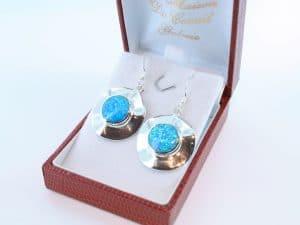 boucles d oreilles en opale bleu et argent 925 par 1000 BO-OP-BL-010