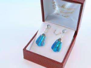 boucles d oreilles en opale bleu et argent 925 par 1000 BO-OP-BL-011
