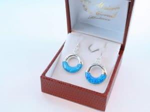 boucles d oreilles en opale bleu et argent 925 par 1000 BO-OP-BL-013