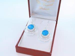 boucles d oreilles en opale bleu et argent 925 par 1000 BO-OP-BL-015