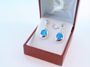 boucles d oreilles en opale bleu et argent 925 par 1000 BO-OP-BL-018