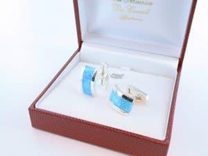 boutons de manchettes en opale bleu et argent 925 par 1000 BM-OP-BL-001
