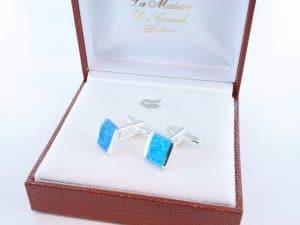 boutons de manchettes en opale bleu et argent 925 par 1000 BM-OP-BL-003