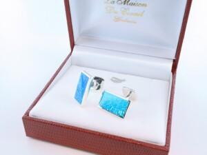 boutons de manchettes en opale bleu et argent 925 par 1000 BM-OP-BL-004