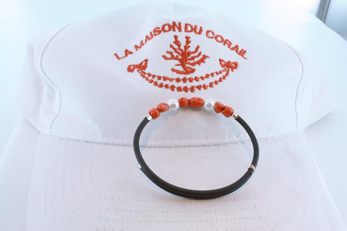 Bracelet corail rouge et argent BR CO AR 1185
