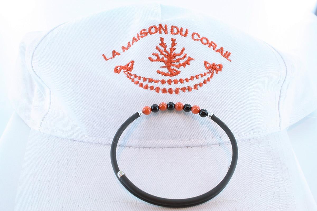 Bracelet corail rouge et argent BR CO AR 1188
