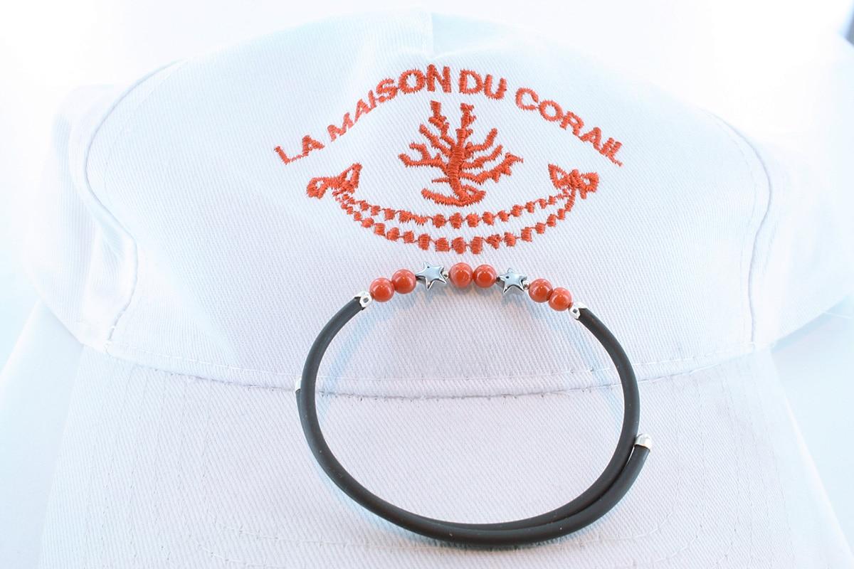 Bracelet corail rouge et argent BR CO AR 1189