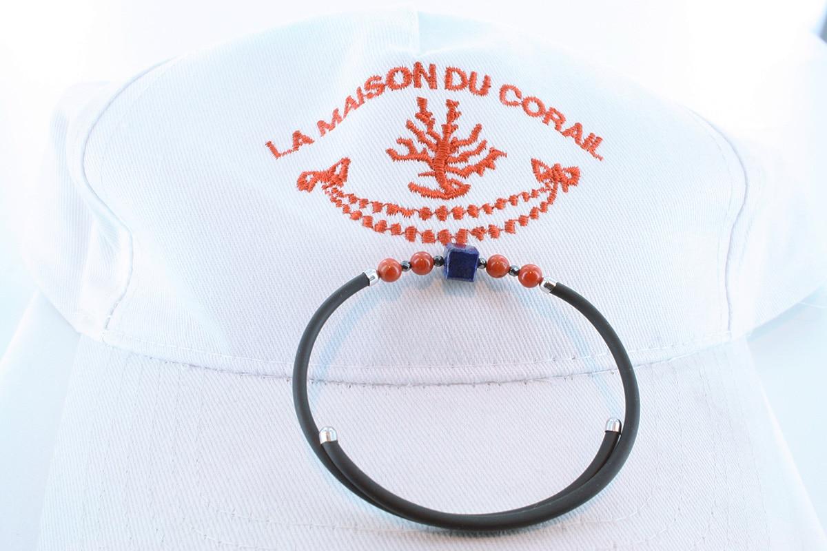 Bracelet corail rouge et argent BR CO AR 1192