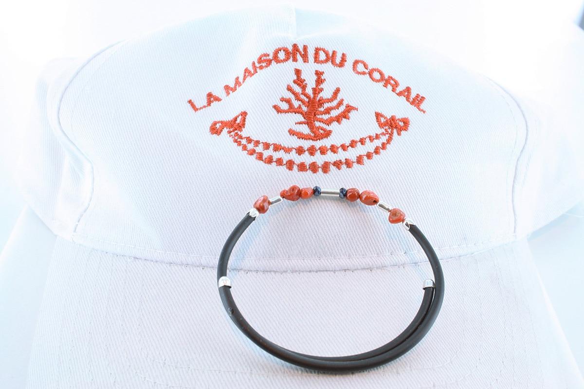 Bracelet corail rouge et argent BR CO AR 1195
