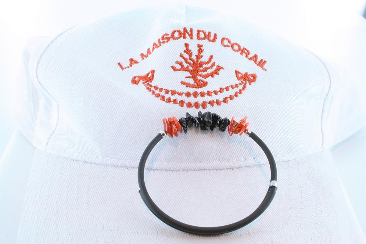 Bracelet corail rouge et argent BR CO AR 1197