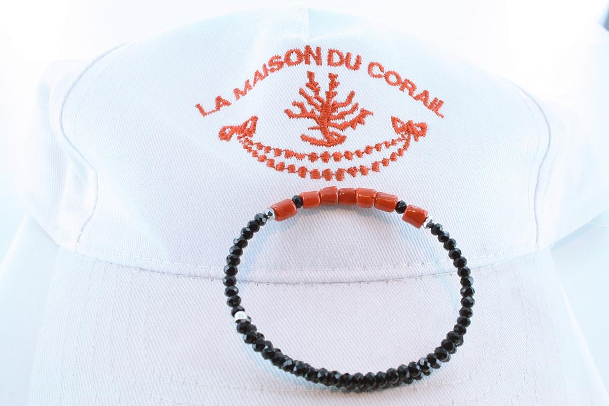 Bracelet corail rouge et argent BR CO AR 1198