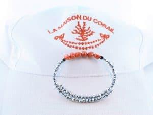 Bracelet corail rouge et argent BR CO AR 1209