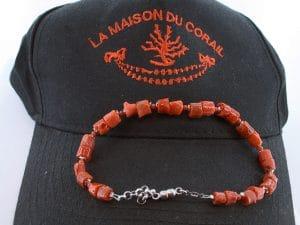 Bracelet corail rouge et argent BR CO AR 1211
