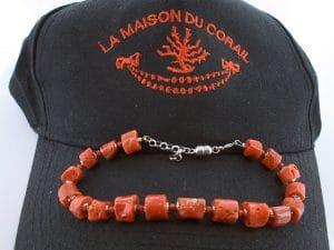 Bracelet corail rouge et argent BR CO AR 1213