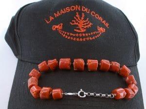 Bracelet corail rouge et argent BR CO AR 1215