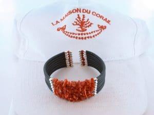 Bracelet corail rouge et argent BR CO AR 1218