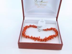Bracelet en corail rouge véritable de Méditerranée et argent 925 par 1000 BR-CO-AR-001