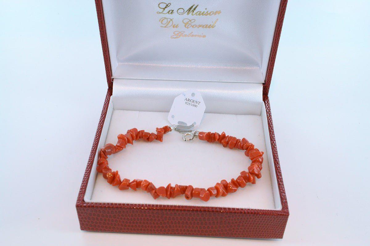 Bracelet en corail rouge véritable de Méditerranée et argent 925 par 1000 BR-CO-AR-003