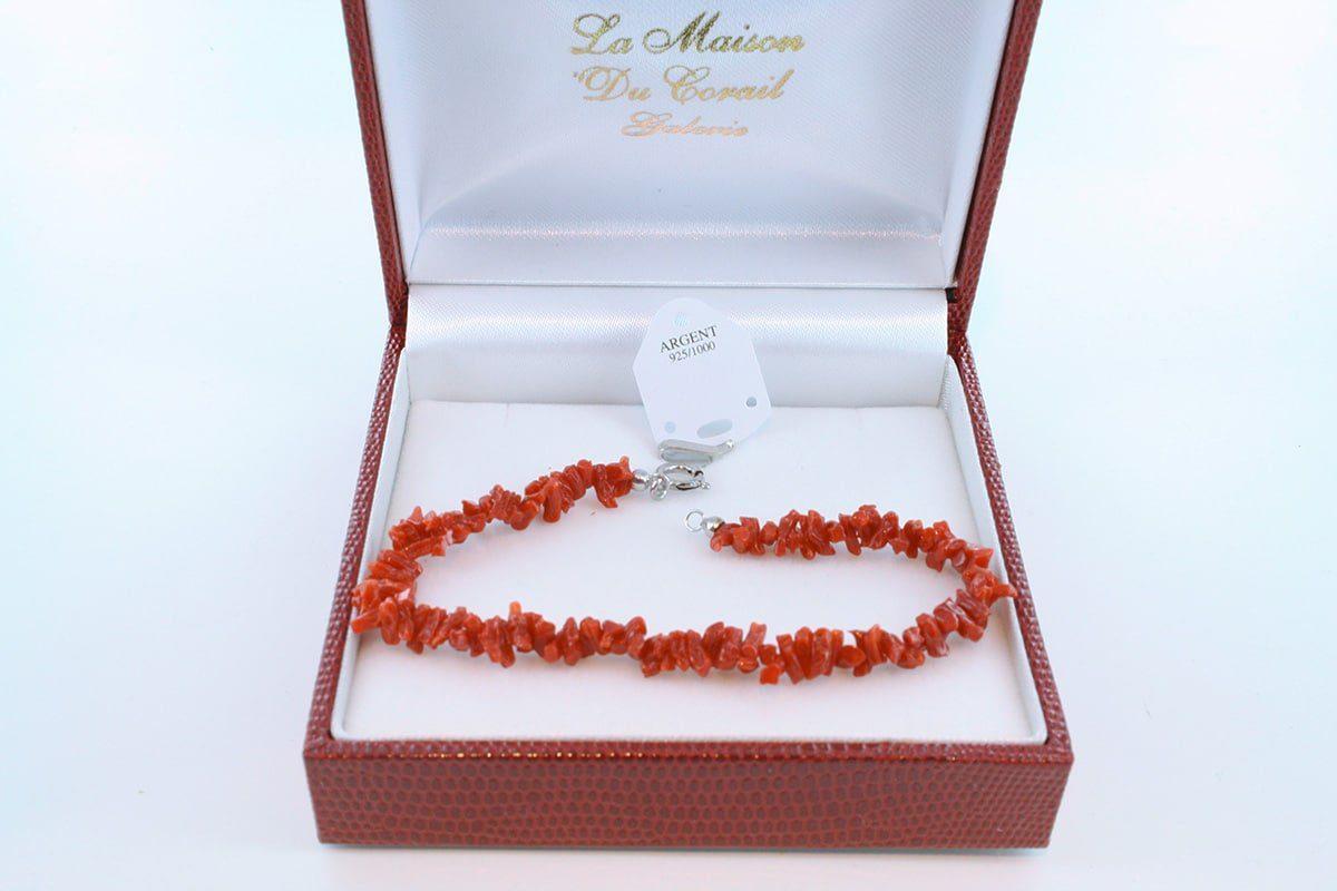 Bracelet en corail rouge véritable de Méditerranée et argent 925 par 1000 BR-CO-AR-004