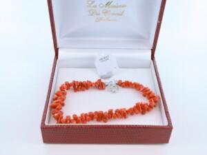 Bracelet en corail rouge véritable de Méditerranée et argent 925 par 1000 BR-CO-AR-007