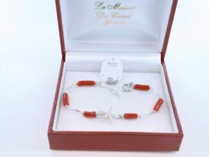 Bracelet en corail rouge véritable de Méditerranée et argent 925 par 1000 BR-CO-AR-013