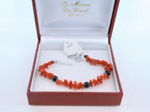 Bracelet en corail rouge véritable de Méditerranée et argent 925 par 1000 BR-CO-AR-016