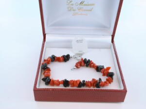 Bracelet en corail rouge véritable de Méditerranée et argent 925 par 1000 BR-CO-AR-017