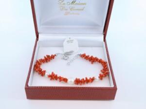 Bracelet en corail rouge véritable de Méditerranée et argent 925 par 1000 BR-CO-AR-022