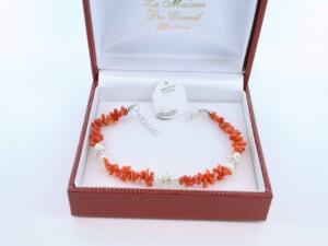 Bracelet en corail rouge véritable de Méditerranée et argent 925 par 1000 BR-CO-AR-026