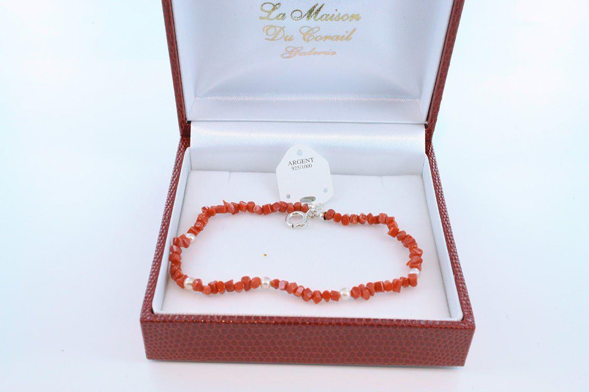 Bracelet en corail rouge véritable de Méditerranée et argent 925 par 1000 BR-CO-AR-028