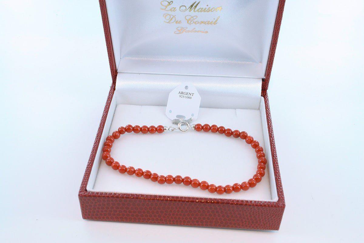 Bracelet en corail rouge véritable de Méditerranée et argent 925 par 1000 BR-CO-AR-031