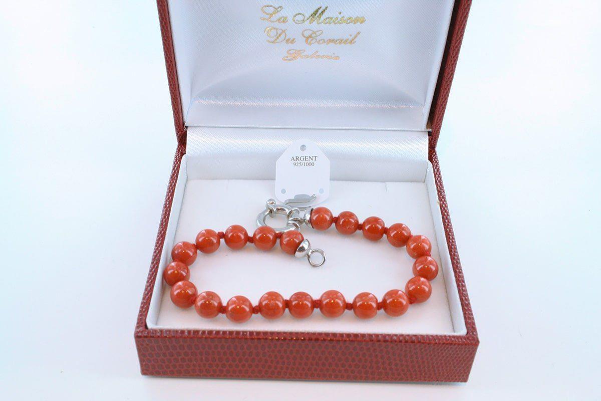 Bracelet en corail rouge véritable de Méditerranée et argent 925 par 1000 BR-CO-AR-036
