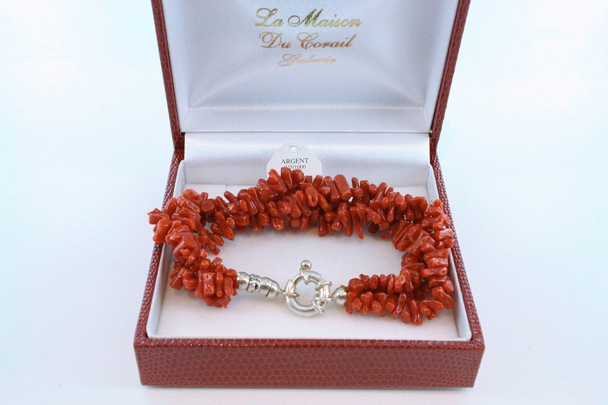 Bracelet en corail rouge véritable de Méditerranée et argent 925 par 1000 BR-CO-AR-048