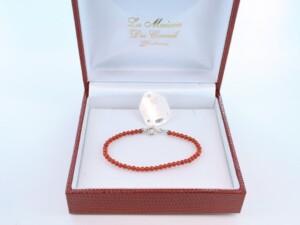 Bracelet en corail rouge véritable de Méditerranée et argent 925 par 1000 BR-CO-AR-050