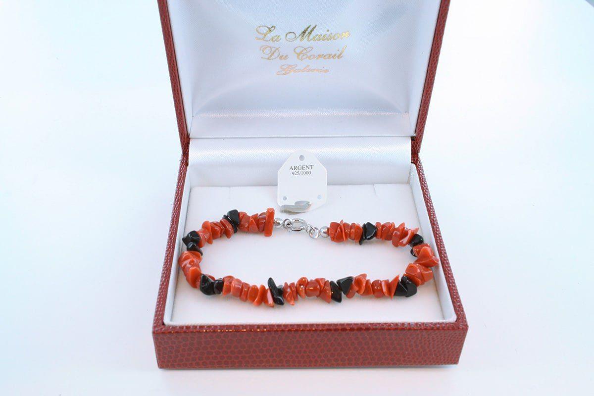 Bracelet en corail rouge véritable de Méditerranée et argent 925 par 1000 BR-CO-AR-051