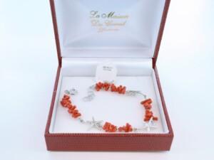 Bracelet en corail rouge véritable de Méditerranée et argent 925 par 1000 BR-CO-AR-054