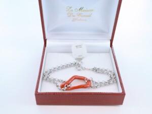 Bracelet en corail rouge véritable de Méditerranée et argent 925 par 1000 BR-CO-AR-055