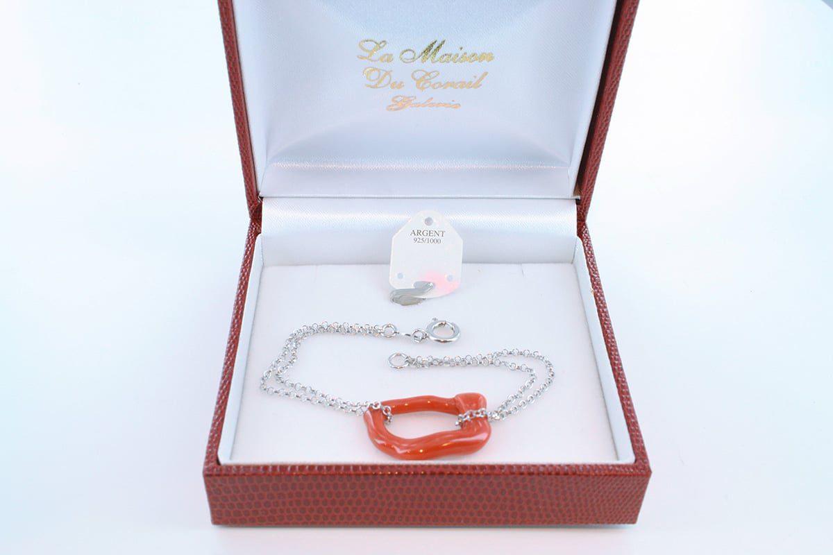 Bracelet en corail rouge véritable de Méditerranée et argent 925 par 1000 BR-CO-AR-056