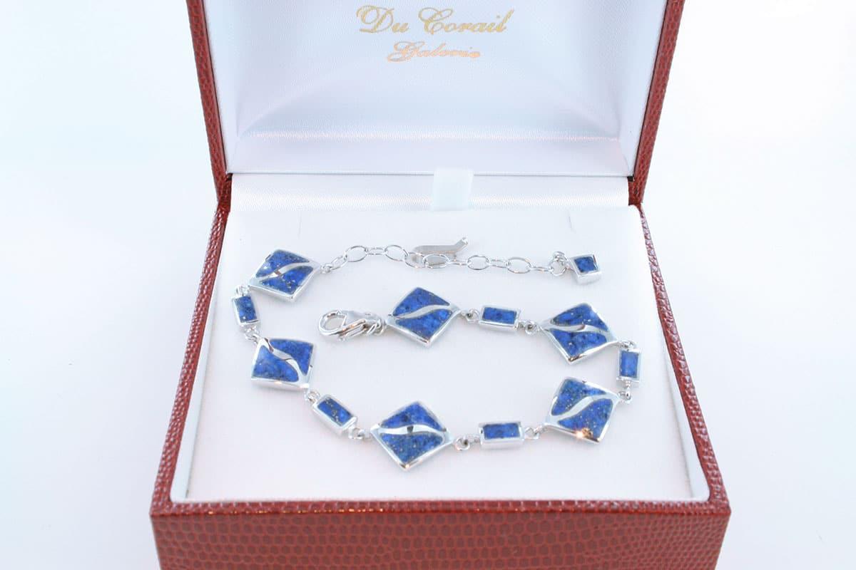 Bracelet en lapis lazuli et argent 925 par 1000 BR-LA-LA-AR-002