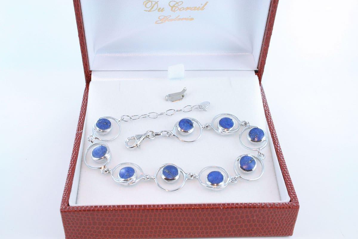 Bracelet en lapis lazuli et argent 925 par 1000 BR-LA-LA-AR-006