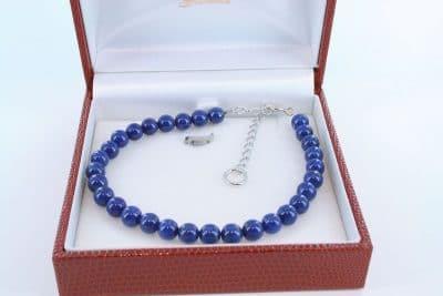 Bracelet en lapis lazuli et argent 925 par 1000 BR-LA-LA-AR-011