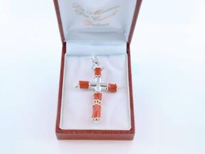 pendentif en corail rouge et argent 925 par 1000 PE-CO-AR-001