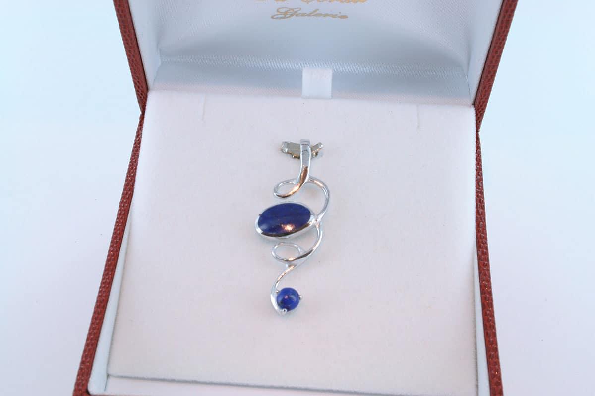 pendentif en lapis lazuli et argent 925 par 1000 PE-LA-LA-AR-008