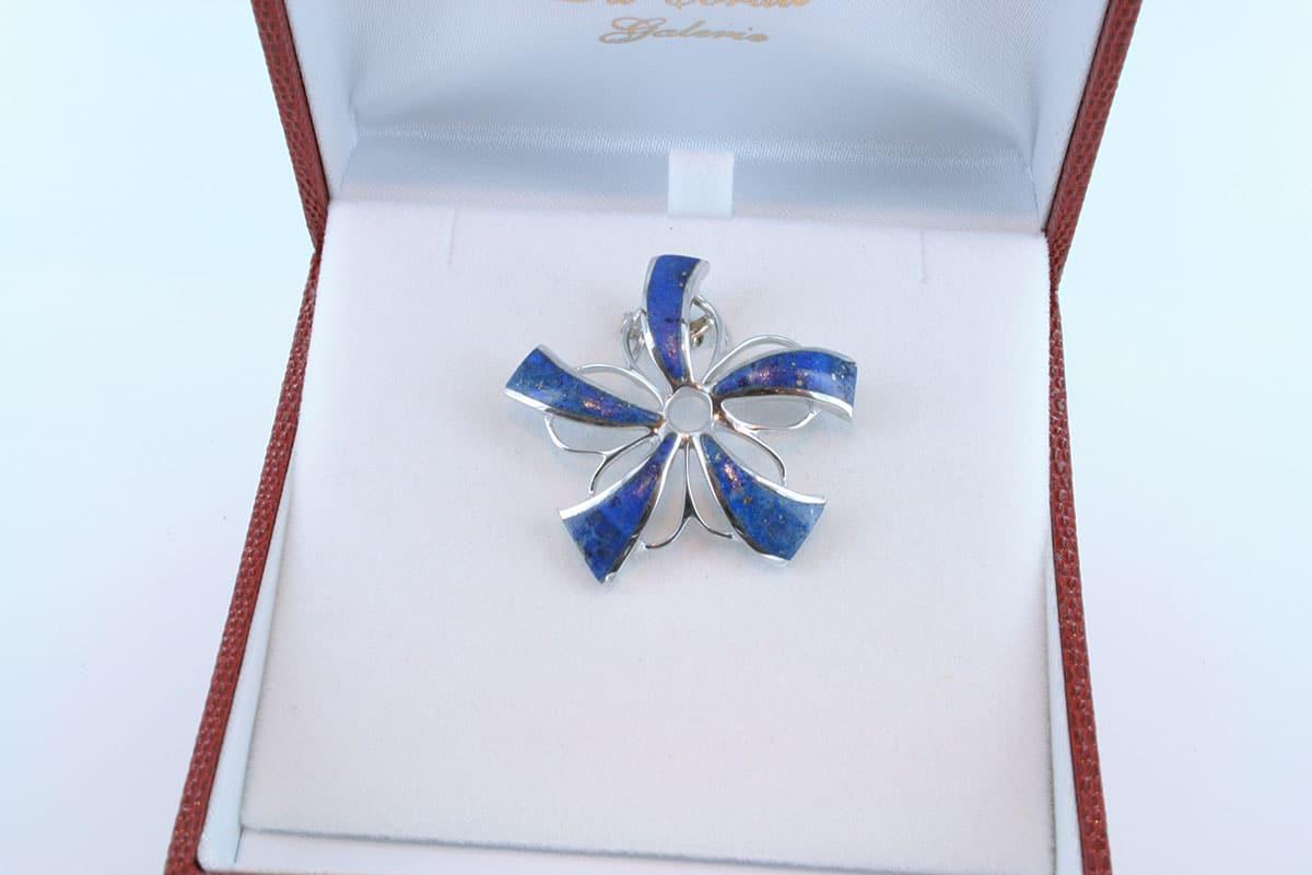 pendentif en lapis lazuli et argent 925 par 1000 PE-LA-LA-AR-009