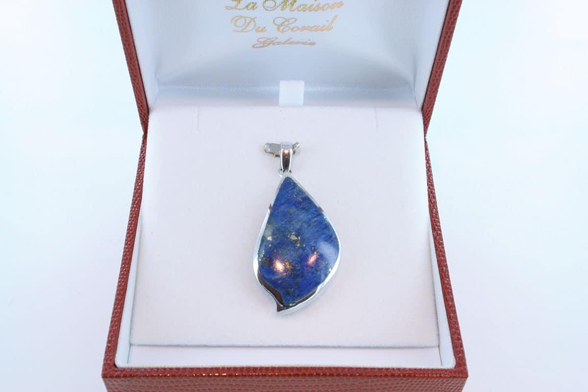pendentif en lapis lazuli et argent 925 par 1000 PE-LA-LA-AR-017