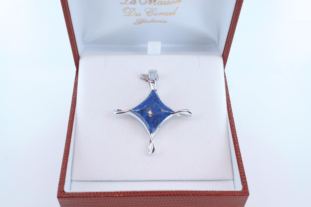 pendentif en lapis lazuli et argent 925 par 1000 PE-LA-LA-AR-018