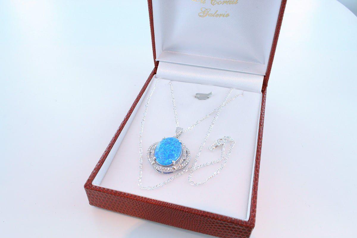 Pendentif en opale et argent 925 par 1000 PE-OP-BL-005