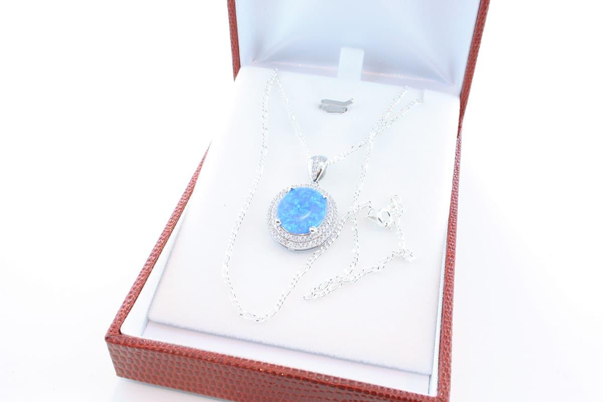 Pendentif en opale et argent 925 par 1000 PE-OP-BL-006