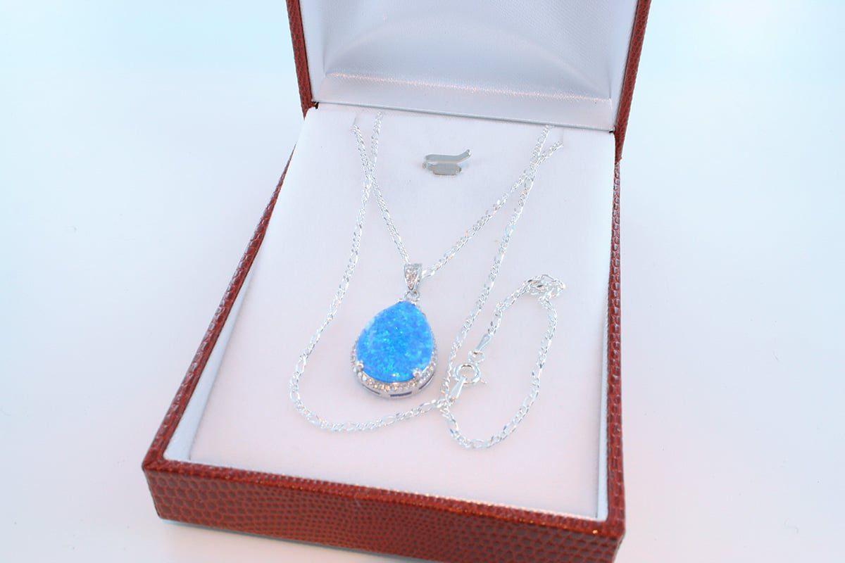 Pendentif en opale et argent 925 par 1000 PE-OP-BL-008
